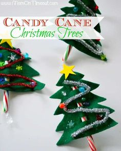 Candy Cane Christmas Trees by Mom on Timeout | The best ever kids Christmas Craft Ideas. So many fun ideas to get the kids involved in the holiday fun!