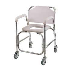 AmazonSmile: Duro-Med Shower Chair With Wheels, Commode Chair and Padded Toilet Seat, Shower Transport Chair, White: Health & Personal Care