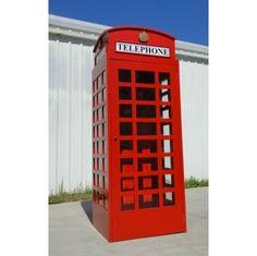 Red British London Telephone Phone Booth Cast Iron Replica English Aluminum Metal Old