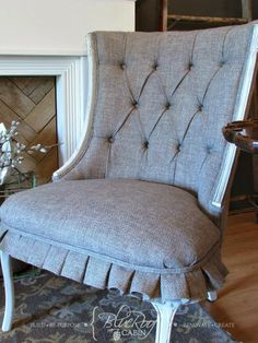 Button Tufted Tweed chair with pleated skirt
