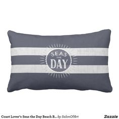 Coast Lover's Seas the Day Beach Bum Navy Striped Pillow