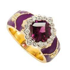Stambolian Magenta Garnet Diamond Gold Enamel Ring