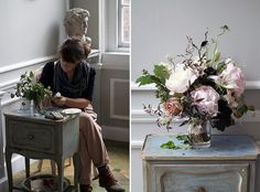 simone_1 by Sarah Ryhanen, via Flickr  I love when obviously beautiful flowers like peonies are challenged by  less obviously flowers and plant material. The tension and wildness offsets the sometimes overly sweet prettiness of peonies.