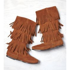 Minnetonka Triple Fringe Boot ($98) ❤ liked on Polyvore featuring shoes, boots, brown, brown boots, brown suede boots, fringe boots, suede fringe shoes and suede leather boots