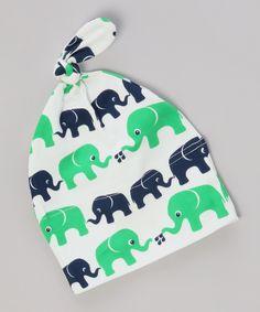Elephant Print Green & Blue Knot Hat - Infant by Nosh Organics