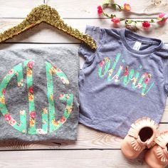 mommy and me monogram floral chic circle monogram vinyl name applique tee by oh sweet sprouts by ohsweetsprouts on Etsy https://www.etsy.com/listing/226632571/mommy-and-me-monogram-floral-chic-circle