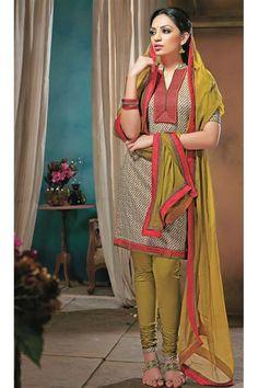 Elegant Printed Cotton Khakhi Punjabi Suit