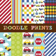 Digital Scrapbook Printable Paper Set  by doodleprints on Etsy, $5.00