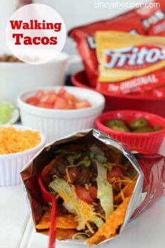 Fair Food at Home Week: Walking Tacos Recipe. Fair Food at Home Week: Walking Tacos Recipes Cuisine : Recipe Yields : Prep time : – Keywords : , Ingredients 1 lb Ground Beef 2 tbsp Taco Seas. I Love Food, Good Food, Yummy Food, Tasty, Food Trucks, Walking Tacos, State Fair Food, Carnival Food, Mets