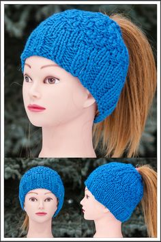 Messy Bun Hat is designed for ladies who like to wear their hair in a bun or a pony tail. * popular design * one size fits all * soft, warm and fashionable * acrylic * Hand Knitted Knitted Hats, Crochet Hats, Messy Bun, Bun Hairstyles, One Size Fits All, Scarfs, Ponytail, Hand Knitting, Royal Blue