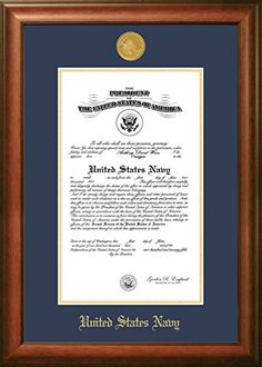 """Campus Images """"Navy Certificate"""" Frame with Gold Medallion, 11"""" x 14"""", Walnut"""