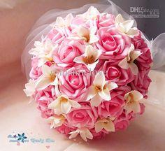 Wholesale Wedding Bouquet - Buy Wedding Bouquets Bride Rose Flowers Silk Flower Pink Bridal Bouquet Artificial Bridemaid Bouquet, $24.19 | D...