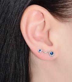Blue Sapphire EAR CLIMBER // Sterling Silver Earrings - Earcuff - Up The Ear Earrings - Climber Earrings - Sapphire Post Earring