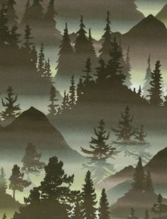 Northwoods Fabric- Mountain Trees Cotton Narnia nursery | this is a rly pretty fabric im so upset