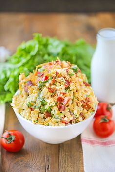 This post is sponsored by Rubbermaid® Freshworks™ and Socialstars™ as part of a sponsored series; all opinions are my own BLT Pasta Salad Crea Blt Pasta Salads, Pasta Salad Recipes, Blt Salad, Pasta Dishes, Food Dishes, Side Dishes, Salad Dishes, Side Dish Recipes, Dinner Recipes