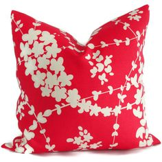 Red Quadrille Pillow Cover Lysette Reverse China Seas by PopOColor