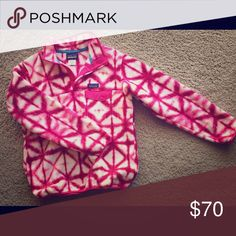 W Patagonia Lightweight Synchilla Snap-T Pullover Never worn, like new. Beautiful pink and white vibrant print. Patagonia Jackets & Coats