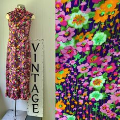 Leslie Fay MOD Floral Maxi Dress Mod Girl, Dress With Shawl, Fabric Labels, Romper With Skirt, Line Design, High Collar, Floral Maxi Dress, Shades Of Green, Vintage Dresses