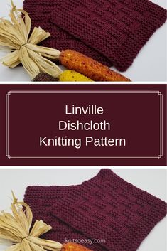 Linville is a dishcloth & washcloth pattern that makes such an attractive design. It is an easy pattern using only knit & purl stitches and every other row is a knit row, making Linville a quick & easy knit. Dishcloth Knitting Patterns, Knitting Stitches, Crochet Patterns, Knit Purl, How To Purl Knit, Knitted Washcloths, Knitted Hats, Crochet Cross, Knit Crochet