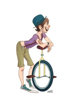 by Daniel Zeppo, via Behance Circus Acts, Comic Manga, Unicycle, Pin Up, Character Design, Behance, Party Ideas, Events, Drawings
