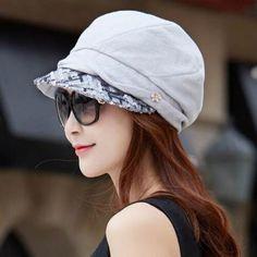 Shiny sequins newsboy cap for women spring summer UV sun hats