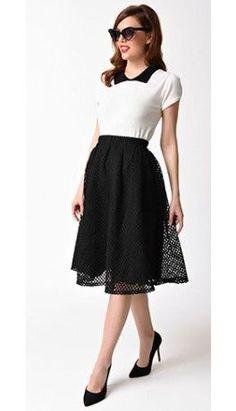 1950s Style Black Netted High Waist Swing Skirt
