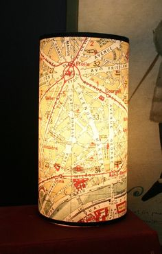 cool DIY lamp using a vintage map.