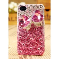 3D Pink Blingy Bow Crystals Girly Phone Case for Her - Samsung Galaxy S4 Cases