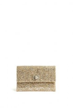 Gold Glitter And Leather Grey Clasp Valorie Clutch by Anya H great! #ETNYE