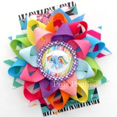 My Little Pony Loopy Flower Hair Bow (Your Choice of Bottle Cap). $7.00, via Etsy.