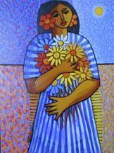 Cándido Bidó - Women with Wild Flowers - Dominican Republic Art -
