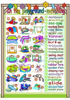 This is the matching worksheet for my pictionary on the playground. I hope you like it and find it useful. Have a nice Thursday. Matching Worksheets, Vocabulary Worksheets, Snowman Cards, Skipping Rope, Wooden Train, Seesaw, Rubber Tires, Esl, Hugs