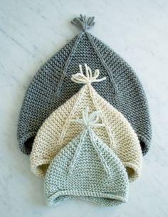 A DIY garter stitch hat with subtle ear flaps.