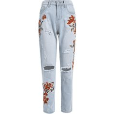Floral Embroidery Destroyed Tapered Jeans (€25) ❤ liked on Polyvore featuring jeans, zaful, blue jeans, tapered jeans, destructed jeans, blue ripped jeans and floral embroidered jeans