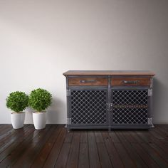 Lattice Door Ellis Console – Model #E48 | Vintage Industrial Furniture