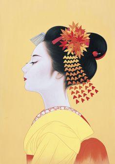 geisha illustration by Japon Illustration, Japanese Illustration, Amakusa, Art Chinois, Geisha Art, Art Asiatique, Kumamoto, Art Japonais, Japanese Painting