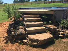Rock step entry for an above ground pool.