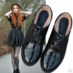 Cheap shoes brogue, Buy Quality women casual shoes directly from China lace flat Suppliers: 2016 Genuine Leather Women Shoes Brogues Lace up Flat Heels Round Toe Patent Leather Black Oxfords Women Casual Shoes Casual Leather Shoes, Leather Brogues, Casual Shoes, Wedge Loafers, Oxfords, Vintage Shoes Women, Aesthetic Shoes, Women Oxford Shoes, Sneaker Boots