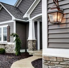 Exterior House design with stone and gray. Exterior House design with stone and gray. House Design, House Siding, House Exterior, House Plans, Exterior House Colors, Exterior Design, New Homes, Beautiful Homes, House Painting