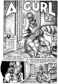 """A Gurl"" copied by Josh Neufeld from R. Robert Crumb, Zap Comics, Funny Comics, Fritz The Cat, Art Bin, Alternative Comics, Comic Artist, Comic Books Art, Erotica"