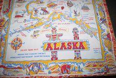 Vintage Tablecloth Alaska Souvenir by CheekyVintageCloset on Etsy, $32.00