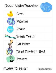 google image result for httpwwwgetsnazzycomwp bedtime routine printablekids - Free Printables Kids