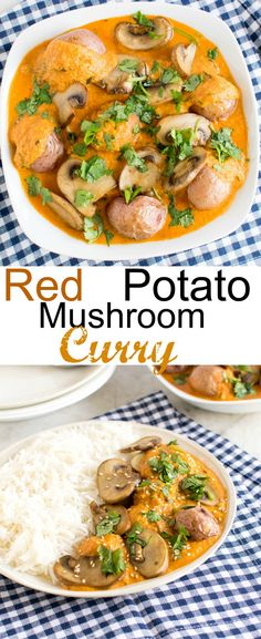 Red Potato Mushroom Curry | potatoes and mushrooms combined in a nut free creamy gravy to make it healthy vegan and delicious entree for your family | kiipfit.com