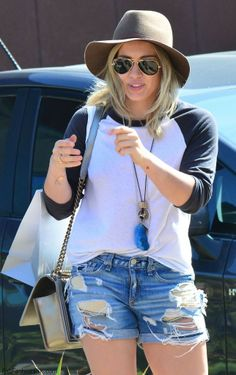 HIlary Duff street style with denim shorts