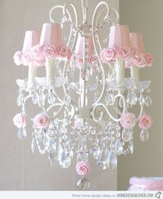 little girl whimsical bedroom design | 15 Alluring Pink Chandeliers for a Girl's Bedroom | Home Design Lover