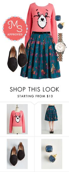 """""""Light and Aviary Skirt"""" by modcloth ❤ liked on Polyvore featuring Olivia Burton, outfit, modcloth and modstylist"""