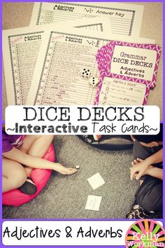 These CCSS aligned interactive task cards allow students to locate adjectives, locate adverbs, and choose between adjectives and adverbs. 30 task cards with 3 tasks per card for a TOTAL of 90 opportunities to practice this skill! DICE DECKS are highly engaging! Have a student roll a die. If it lands on a 1 or 4, task A will be completed. If it lands on a 2 or 5, task B will be completed. If it lands on a 3 or 6, task C will be completed!