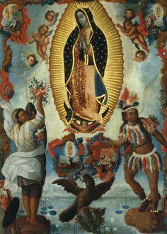 """""""Santa María, Virgen de Guadalupe patrona principal de la Nueva España jurada en México, el 27 de abril año de la epidemia de 1737, José de Rivera, óleo sobre tela, 1778. Museo Nacional de Historia, México."""