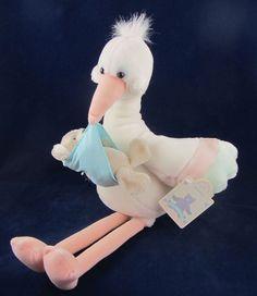 Applause White Stork w Baby Bear Plush Stuffed Animal EUC Pink Floppy Legs Beak #Applause