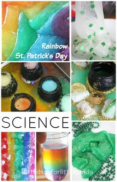 St Patricks Day science activities, experiments, and projects for preschool, kindergarten, and grade school age kids. St Patricks Day and Rainbow LEGO builds and STEM Challenges. Grow rainbow crystals, make rainbow slime and gold slime, or try colorful rainbow eruptions with St Patricks Day baking soda science. Shamrocks, gold coins, and black pots for fun St Patricks Day activities.